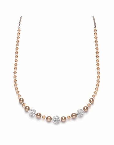 Stunning Custom Made Pearl Rhinestone And Austrian Crystal Necklace In 26 Colors