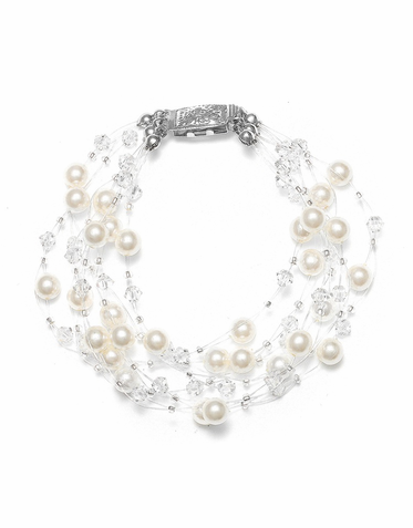 Hand Crafted Pearl And Crystal 6-Strand Illusion Bracelet In 26 Custom Colors