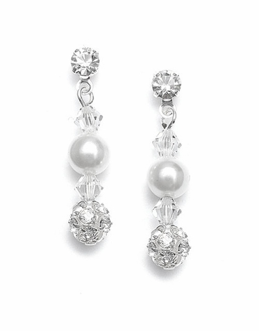 Hand Crafted Shimmering Pearl And Rhinestone Fireball Earrings In 26 Custom Colors