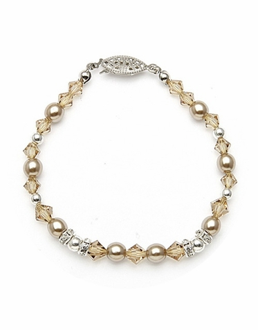Hand Crafted Pearl Rhinestone And Crystal Bracelet In 26 Custom Colors