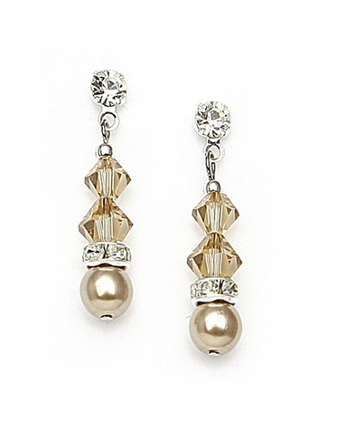 Hand Crafted Pearl Crystal And Rhinestone Drop Earrings In 26 Custom Colors
