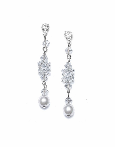Hand Sewn Crystal And Pearl Drop Earrings In 26 Custom Colors