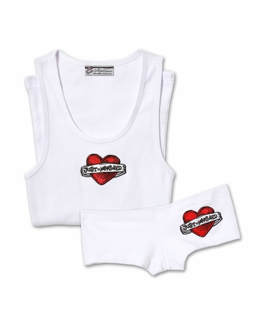 Just Married Boy Short and Tank or Tee Set with Tattoo Patch
