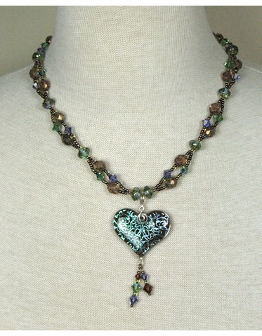 CLEARANCE: Karen Nan Multi Colored Crystal Heart Necklace