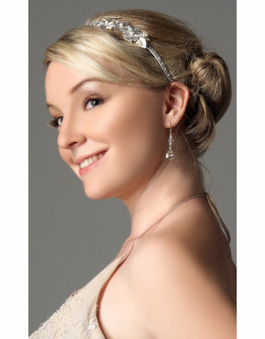 Flower Design Bridal Headband With Crystals IHD001