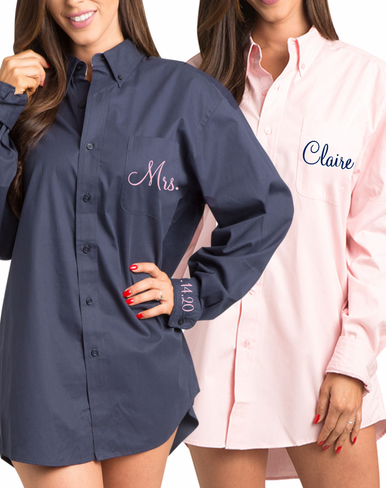 Navy and Pink Theme Bridal Party Oxford Shirts