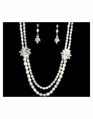 Freshwater Pearl and Rhinestone Necklace and Earrings Jewelry Set-521M