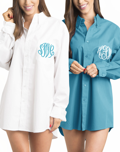 White and Aqua Tiffany Themed Bridal Party Oxford Shirts