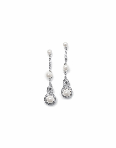 Exquisite Vintage Pearl And Zirconia Drop Earrings