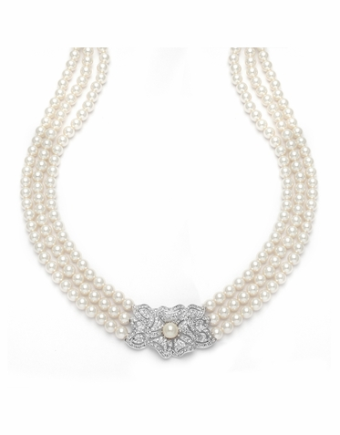 Vintage Pearl Strand And Zirconia Necklace