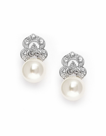 Lovely Cream Pearl And Pave Earrings Available In Post Or Clip-On