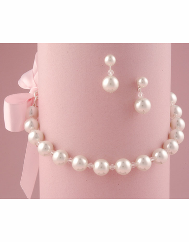 Single Strand Pearl Necklace with Bow