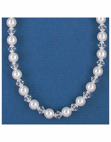 Alternating White Pearl and Crystal Bridal and Bridesmaid Necklace