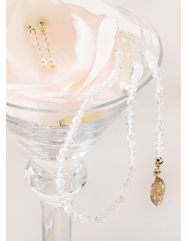 Alternating Pearl and Crystal Jewelry Set