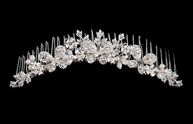 Butterfly Series Rhinestone and Ivory Pearl Headpiece B9602