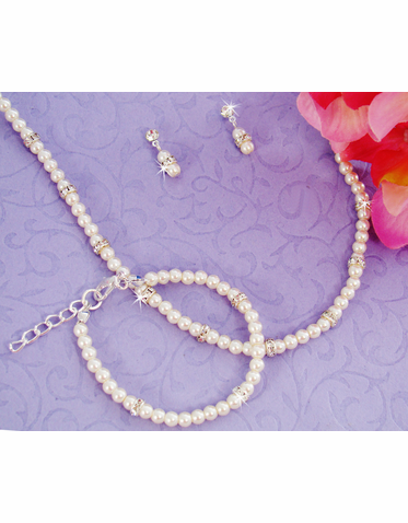 White Pearl Jewelry Set - Necklace, Bracelet and Earrings