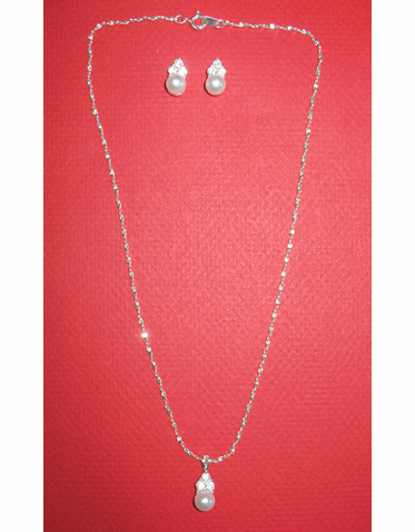 Pearl and Three Crystal Necklace and Earrings Set