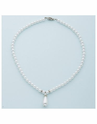 White Pearl and Crystal Rondelles Silver Necklace