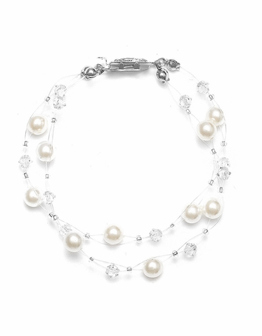 Lovely 2-Strand Illusion Pearl Bracelet Custom Made In 26 Colors