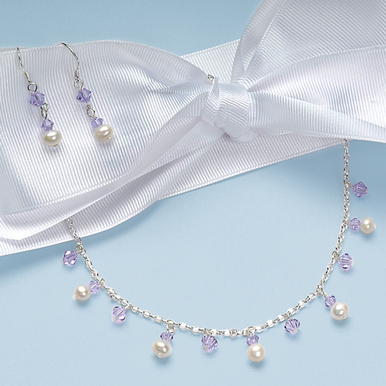CLEARANCE: Freshwater Pearl and Crystal Bridesmaid Jewelry Set in Colors