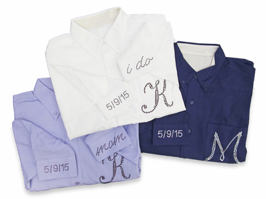 Rhinestone Monogram Bridal Party Oxford