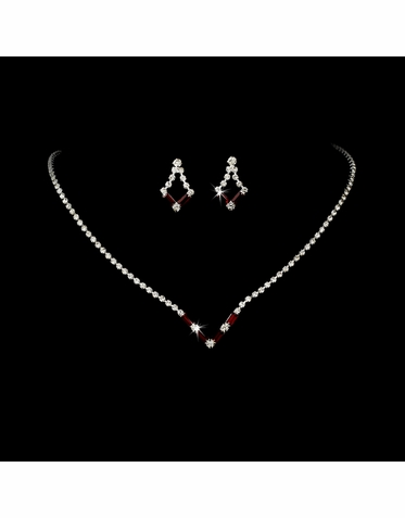 CLEARANCE: Red Crystal Prom Jewelry Set - Red Bridesmaid Jewelry