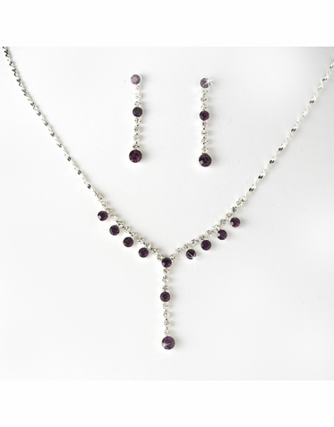 CLEARANCE: Amethyst Purple Crystal Jewelry Set