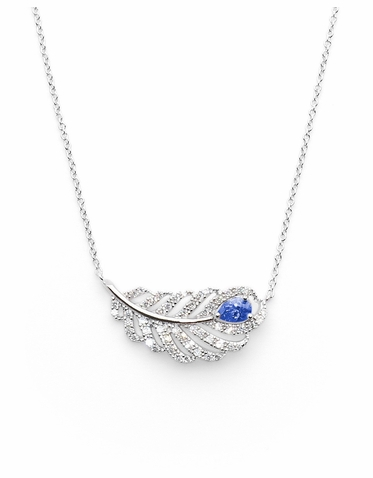 CLEARANCE: Farrah Peacock Feather Necklace By David Tutera