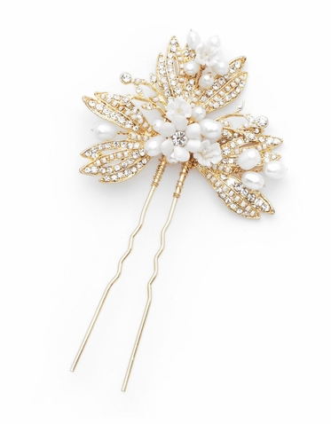 Shelby Pearl, Crystal And Gold Vintage Hair Pin By David Tutera
