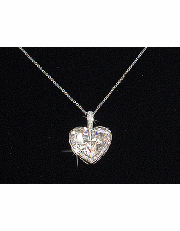Cubic Zirconia Collection Heart Pendant with Mini Crystals