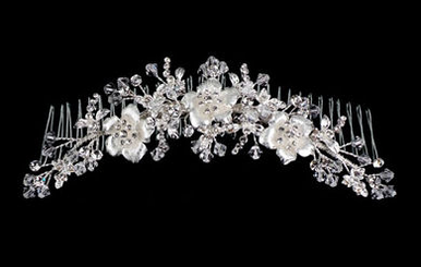 Delicate Silver Flower Headpiece with Clear Crystals A1806