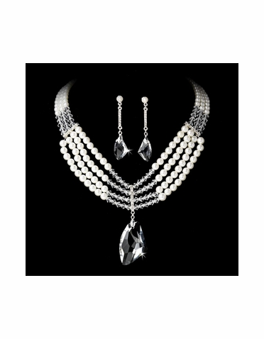 Silver Pearl and Jewelry Set NE 8316