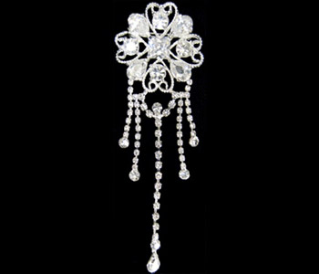 Rhinestone Hearts and Silver Brooch-156