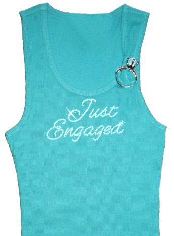 Rhinestone Just Engaged Tank with Optional Ring Brooch