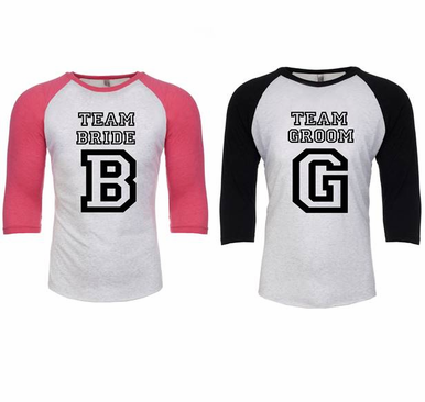 Team Bride - Team Groom - Printed Raglan Sleeve Baseball Tees