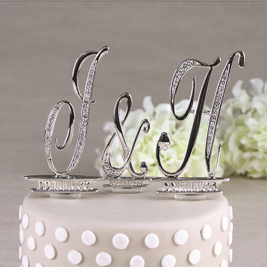 Silver and Crystal Monogram Cake Top Letters - in 2 Sizes!