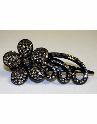 Black Crystal Hair Clip with Flower and Vine