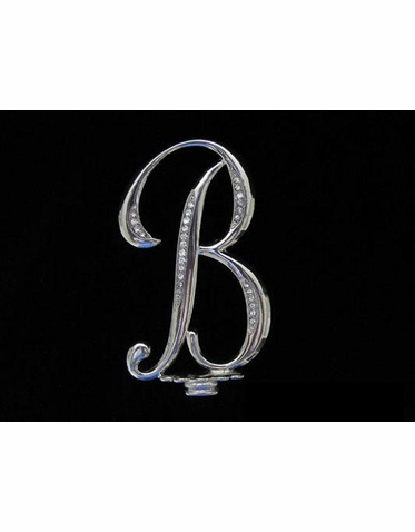 Crystal Accented Silver Monogram Cake Topper