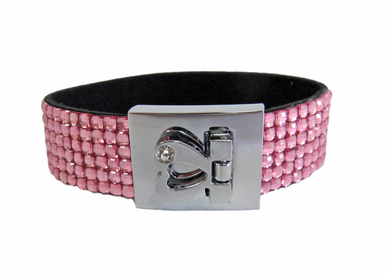 Pink Rhinestone Cuff Bracelet with Heart Clasp