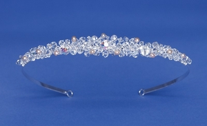 Opal and Clear Crystal and Rum Freshwater Pearls Headband