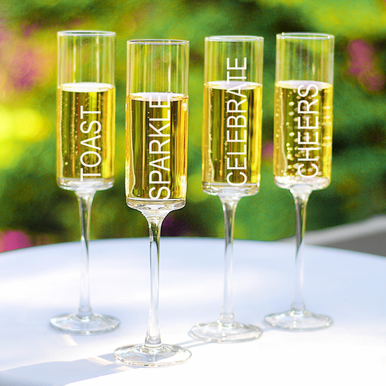 Gala Hand-Blown Champagne Glasses  Includes Engraving   Set of Four