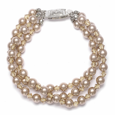Hand Crafted 3-Strand Pearl And Crystal Bracelet In 26 Custom Colors