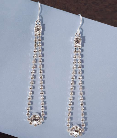 CLEARANCE: Love Loop Rhinestone Dangle Earrings - Rhinestone Prom Earrings