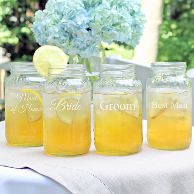 Bridal Party Engraved Mason Jar Drinking Set