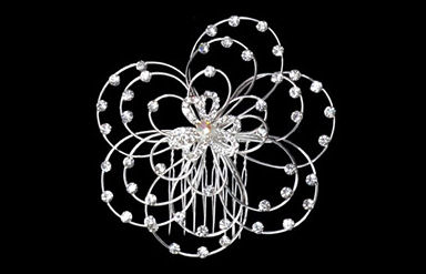 Silver Strand Flower Side Comb with Rhinestones TRS1294