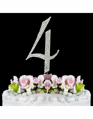 Crystal Covered Number 4 Birthday or Anniversary Cake Topper