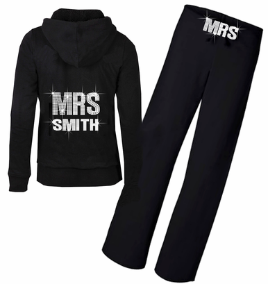 Rhinestone Bridal Hoodie with New Mrs. Name and Optional Pants