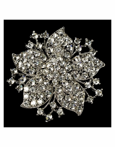 Elegant Vintage Crystal Bridal Pin for Hair or Gown Brooch 15