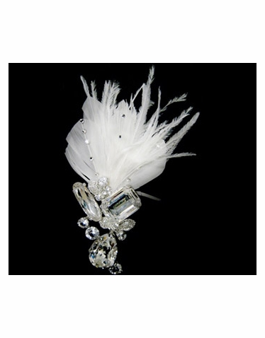 Feather and Crystal Brooch-163