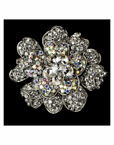 Large Silver AB Crystal Celebrity Style Brooch for Gown or Hair - Brooch 8779